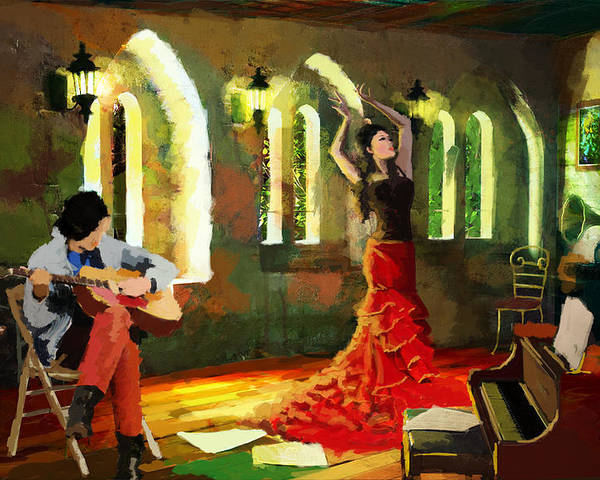Jazz Poster featuring the painting Flamenco Dancer 017 by Catf