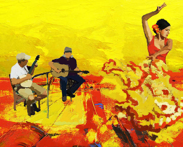 Jazz Poster featuring the painting Flamenco Dancer 018 by Catf