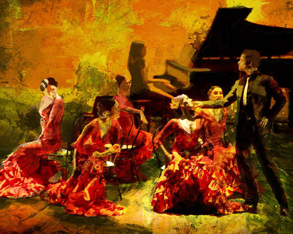 Jazz Poster featuring the painting Flamenco Dancer 020 by Catf