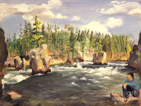 Boulders Poster featuring the painting Floating Boulders On The Yellowstone River 1950s by Art By Tolpo Collection