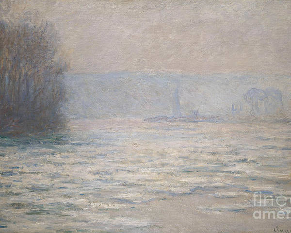 French Poster featuring the painting Floods On The Seine Near Bennecourt by Claude Monet