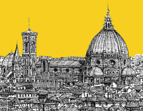 Florence Poster featuring the drawing Florence Duomo by Adendorff Design