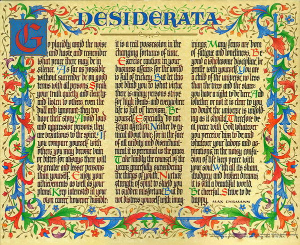 Desiderata Poster featuring the mixed media Florentine II Desiderata Poem by Desiderata Gallery