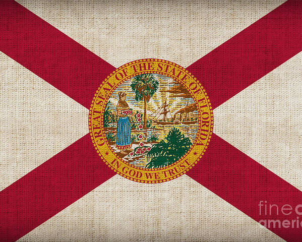 Florida Poster featuring the painting Florida State Flag by Pixel Chimp