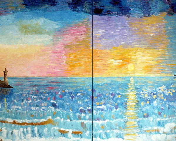 Sea Poster featuring the painting Florida Sunset by Vicky Tarcau