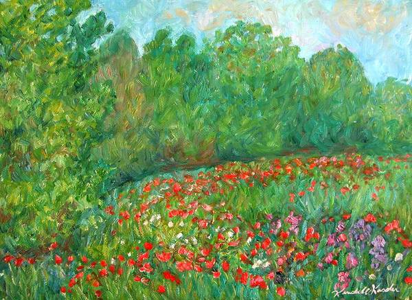 Blue Ridge Paintings Poster featuring the painting Flower Field by Kendall Kessler