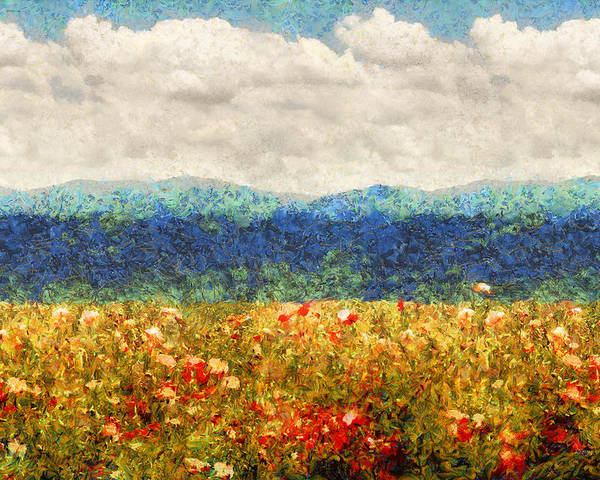 Poppy Poster featuring the digital art Flower - Landscape - Fragrant Valley by Mike Savad