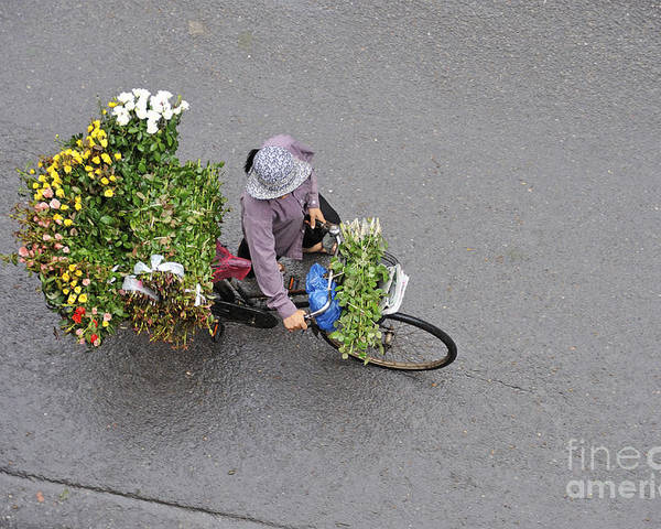 Vietnam Poster featuring the photograph Flower Seller In Street Of Hanoi by Sami Sarkis