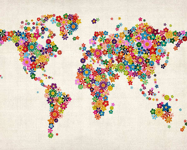 World Map Poster featuring the digital art Flowers Map Of The World Map by Michael Tompsett