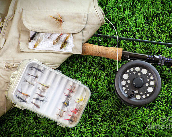 Activity Poster featuring the photograph Fly Fishing Rod And Asessories by Sandra Cunningham