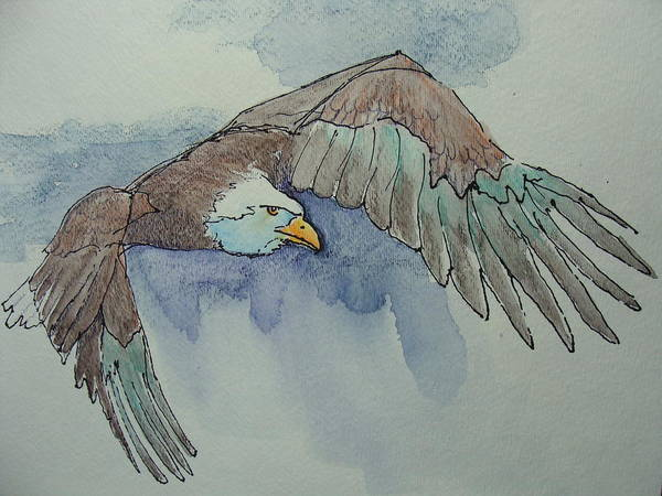 Eagle Poster featuring the painting Flying Free by Judy Fischer Walton