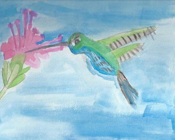 Flying Hummingbird Poster featuring the painting Flying Hummingbird by Epic Luis Art