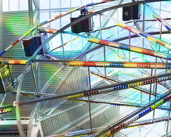 Flying Inside Ferris Wheel Poster featuring the photograph Flying Inside Ferris Wheel by Luther Fine Art