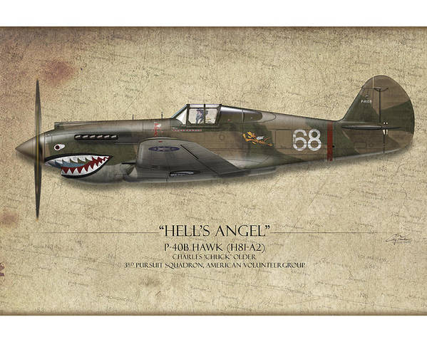 Aviation Poster featuring the painting Flying Tiger P-40 Warhawk - Map Background by Craig Tinder