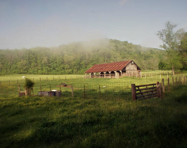 Barn Poster featuring the photograph Foggy Barn by Marty Koch