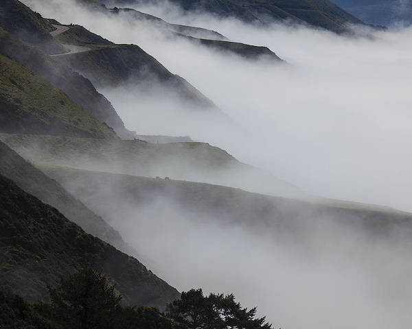 Foggy Poster featuring the photograph Foggy Coastal Hills by Garry Gay