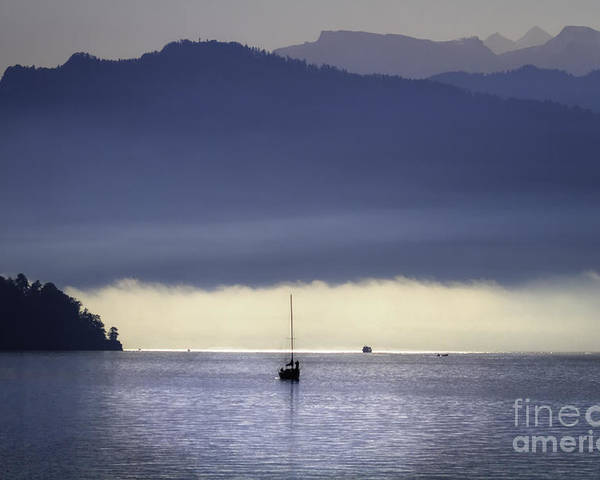 Alps Poster featuring the photograph Foggy Morning On Lake Lucerne by George Oze