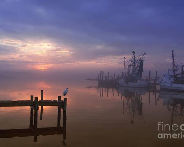 Swansboro North Carolina Poster featuring the photograph Foggy Sunset Over Swansboro by Benanne Stiens
