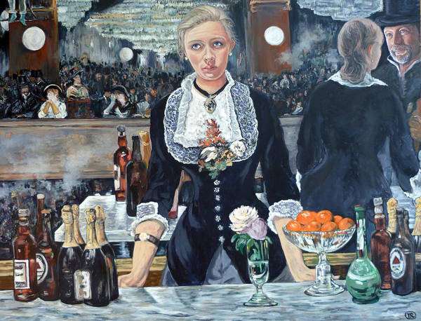 A Bar At The Folies Bergere Revisited Poster featuring the painting Folies Bergere Revisited by Tom Roderick