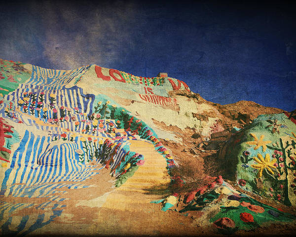 Salvation Mountain Poster featuring the photograph Follow The Yellow Brick Road by Laurie Search