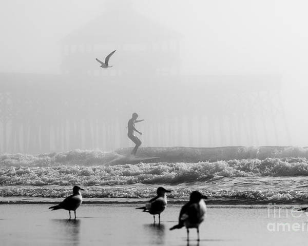 Folly Beach Foggy Day Surf Poster featuring the photograph Folly Beach Pier Foggy Day Surf by Dustin K Ryan