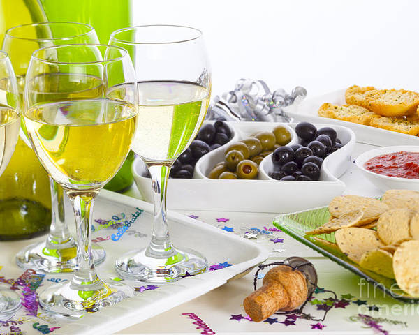 Wine Poster featuring the photograph Food And Wine On A Buffet Table by Colin and Linda McKie