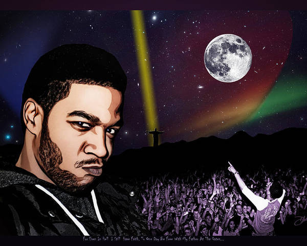 Kid Cudi Poster featuring the digital art For Even In Hell - Kid Cudi by Dancin Artworks
