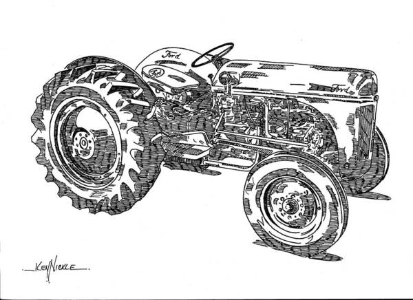 Tractor Poster featuring the drawing Ford 8n Tractor by Ken Nickle