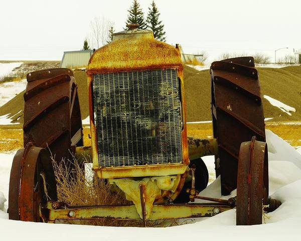 Eastern Montana Poster featuring the photograph Fordson Tractor Plentywood Montana by Jeff Swan