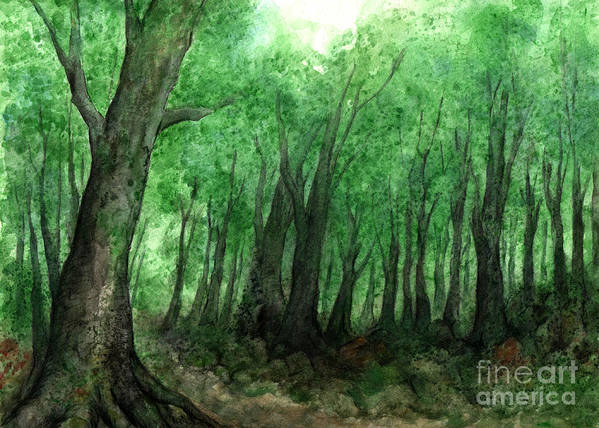 Misty Poster featuring the painting Forest Entrance by Kirohan Art