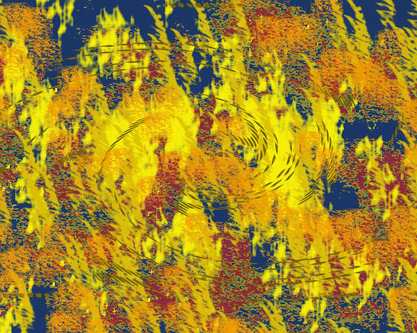 Abstract Poster featuring the digital art Forest Fire by John Saunders