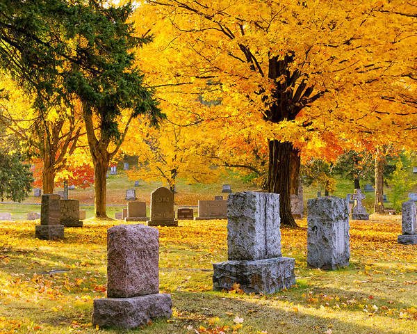 forest Hill forest Hill Cemetery woodland Autumn Cemetery Graveyard Trees Leaves Duluth Serenity Peace Tombstones Wind winds Of Change blowing Leaves nature fall Color mary Amerman Poster featuring the photograph Autumn At Forest Hill by Mary Amerman