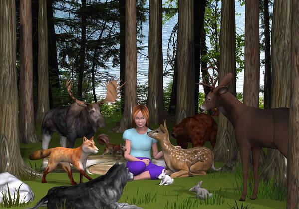 3d Poster featuring the digital art Forest Rendezvous by Jennifer Schwab