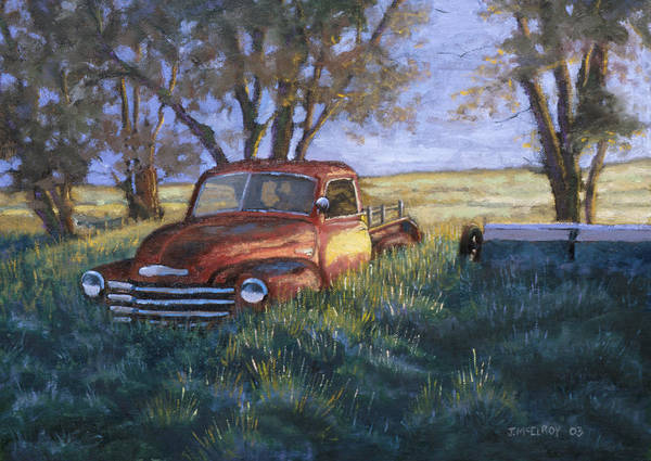 Pickup Truck Poster featuring the painting Forgotten But Still Good by Jerry McElroy