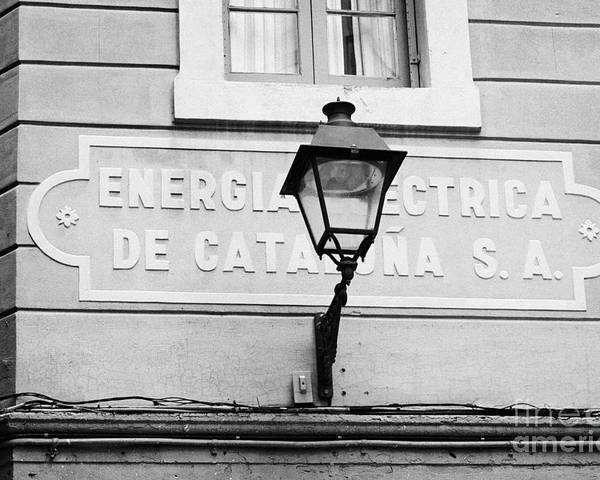 Former Poster featuring the photograph former headquarters of the energia electrica de cataluna raval Barcelona Catalonia Spain by Joe Fox