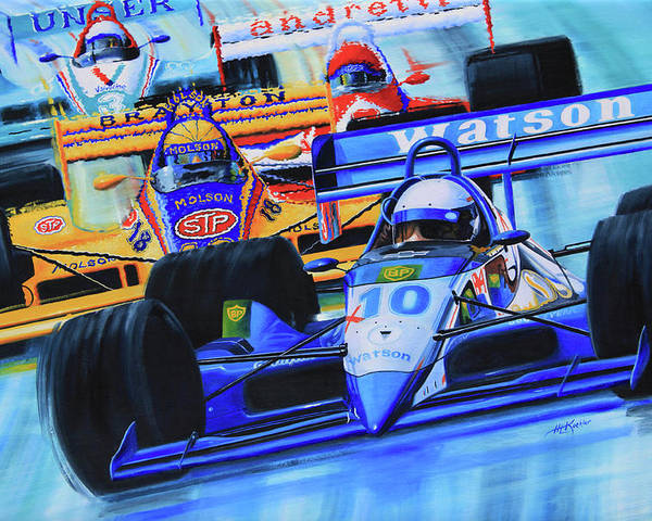 Formula 1 Race Painting Poster featuring the painting Formula 1 Race by Hanne Lore Koehler