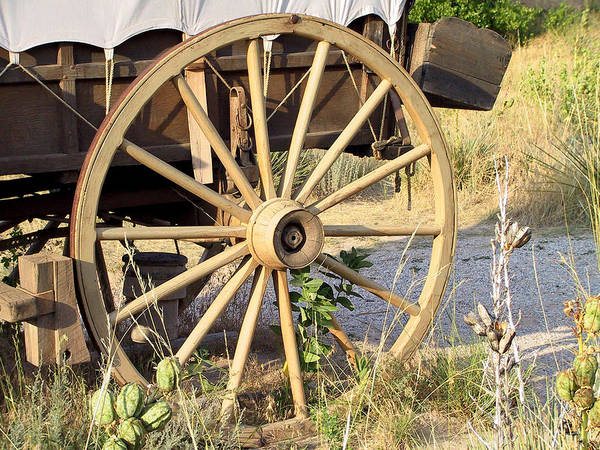 Pioneer Poster featuring the photograph Fort Laramie Wy - Moving West On Wagon Wheels by Christine Till