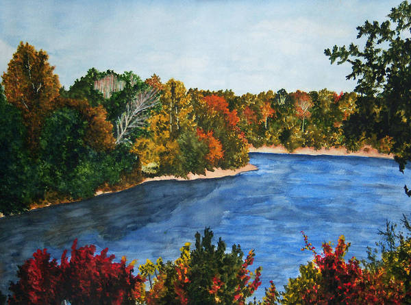 Watercolor Poster featuring the painting Fort Toulouse Coosa River In Fall by Beth Parrish