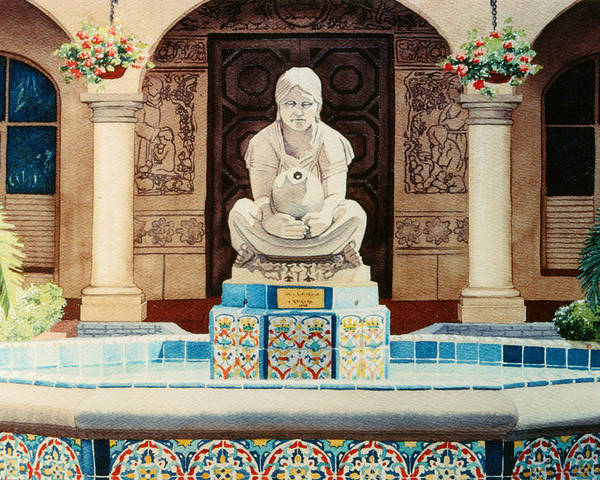 Fountain Poster featuring the painting Fountain At Cafe Del Rey Moro by Mary Helmreich
