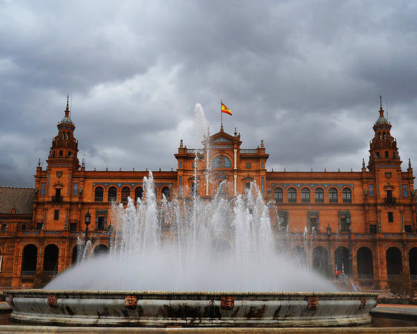 Seville Poster featuring the photograph Fountain On Plaza De Espana. Seville by Jenny Rainbow