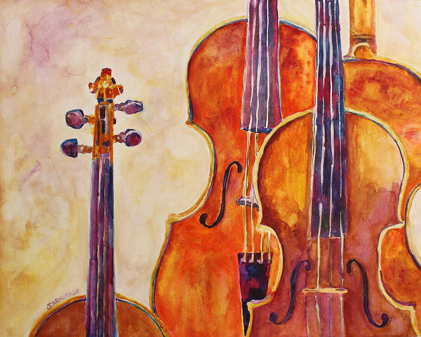 Violins Poster featuring the painting Four Violins by Jenny Armitage