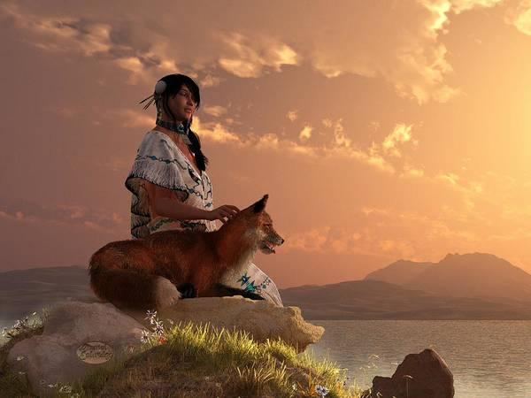 Fox Poster featuring the digital art Fox Maiden by Daniel Eskridge