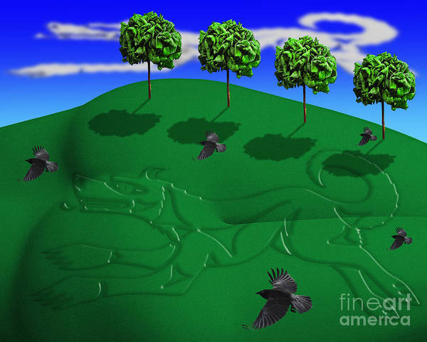 Surreal Landscape Poster featuring the digital art Fox Mound by Keith Dillon
