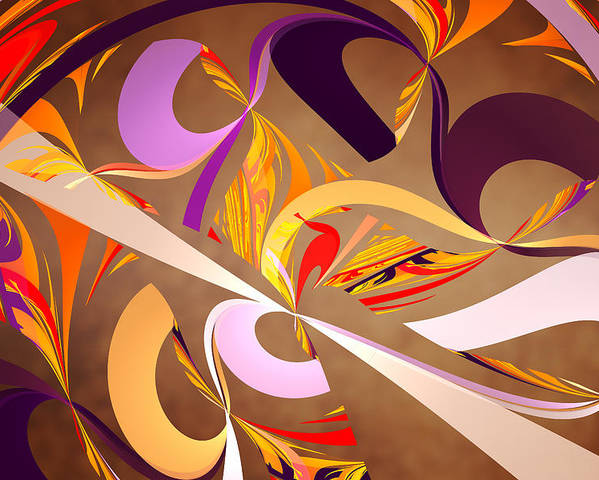 Abstract Poster featuring the digital art Fractal - Abstract - Space Time by Mike Savad