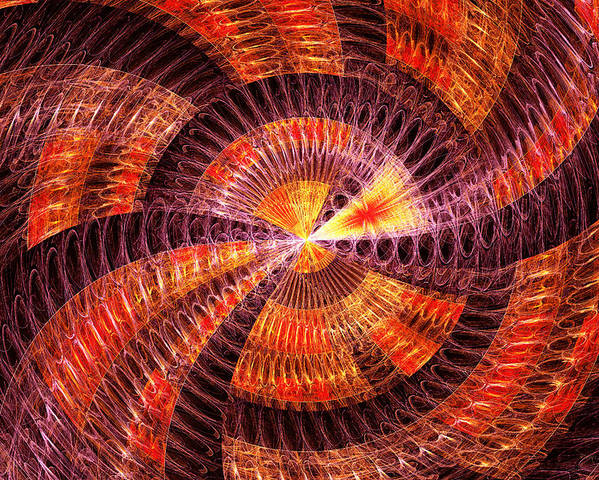 Abstract Poster featuring the digital art Fractal - Abstract - The Constant by Mike Savad