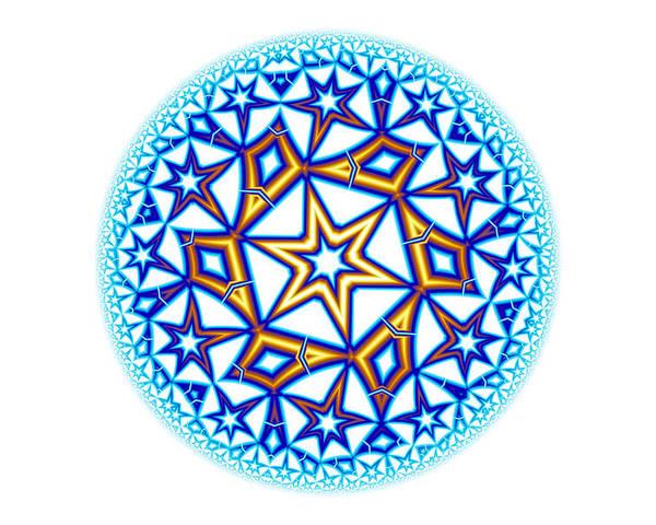 Mandala Poster featuring the digital art Fractal Escheresque Winter Mandala 1 by Hakon Soreide