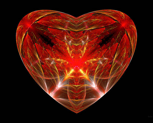 Abstract Poster featuring the photograph Fractal - Heart - Open Heart by Mike Savad