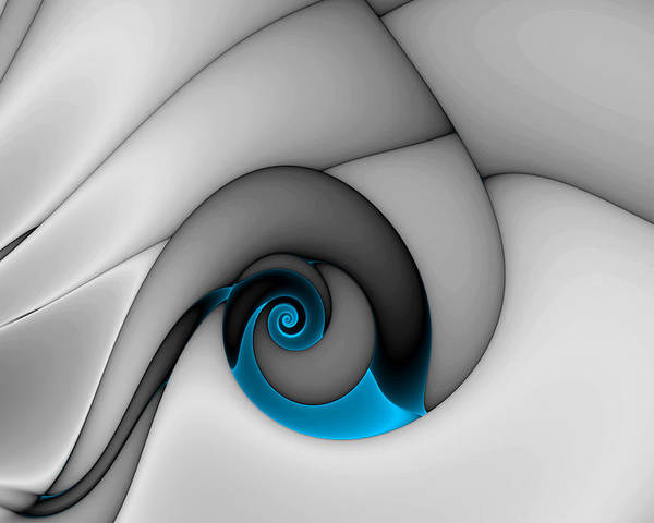 Abstract Poster featuring the digital art Fractures Curl Blue by Mark Eggleston