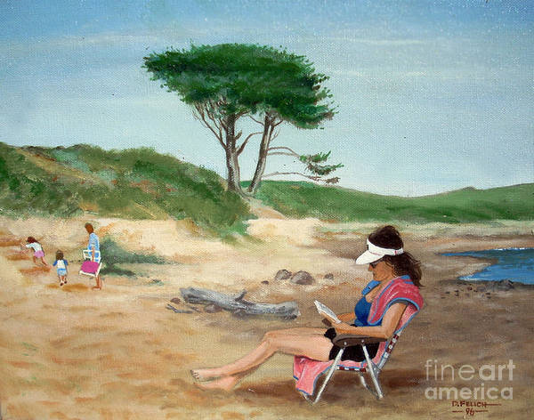 Landscape Poster featuring the painting Frances At The Beach by Don Felich