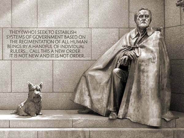 Landmarks Poster featuring the photograph Franklin Delano Roosevelt Memorial - Bits And Pieces 7 by Mike McGlothlen